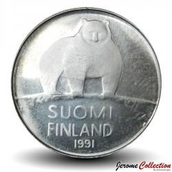 FINLANDE - PIECE de 50 Penniä - Un ours polaire - 1991 Km#66