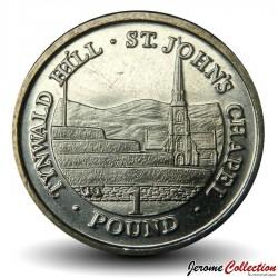 ILE DE MAN - PIECE de 1 Pound - Colline de Tynwald et chapelle Saint-Jean - 2009 Km#1259