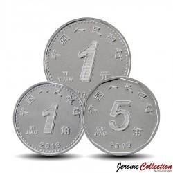 CHINE - SET / LOT de 3 PIECES de 1 5 Jiao et 1 Yuan - 2019