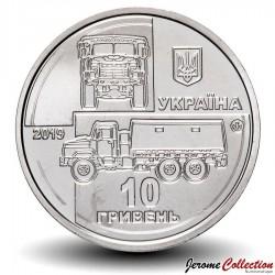 UKRAINE - PIECE de 10 Hryven - Camion tactique KrAZ-6322 - 2019