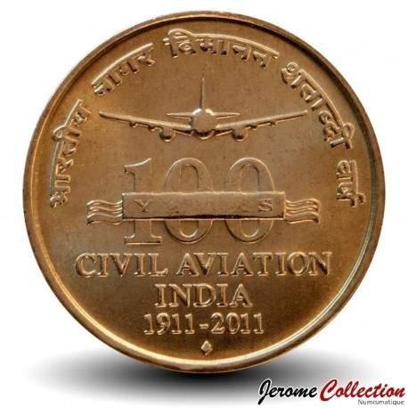 INDE - PIECE de 5 Roupies - 100 ans de l'aviation civile - 2011 Km#397