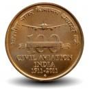 INDE - PIECE de 5 Roupies - 100 ans de l'aviation civile - 2011