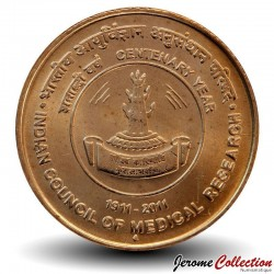 INDE - PIECE de 5 Roupies - 100 ans du conseil indien de la recherche médicale - 2011