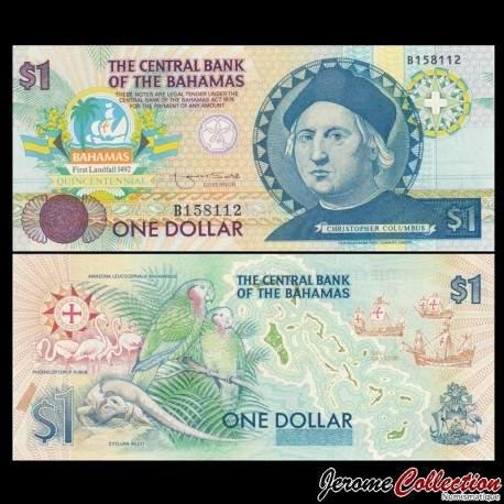BAHAMAS - Billet de 1 DOLLAR - Christophe Collomb - 1992 P50a