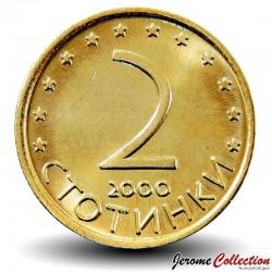 BULGARIE - PIECE de 2 Stotinki - Le cavalier de madara - 2000