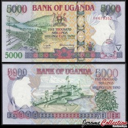 OUGANDA - Billet de 5000 Shillings - Ferry MV Kaawa / Lac Bunyonyi - 2005 P44b