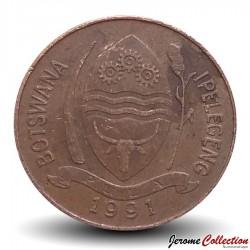 BOTSWANA - PIECE de 5 Thebe - Calao à bec rouge - 1991