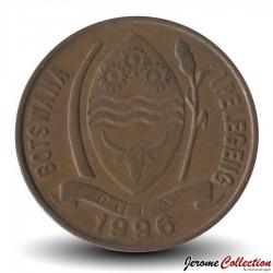 BOTSWANA - PIECE de 5 Thebe - Calao à bec rouge - 1996