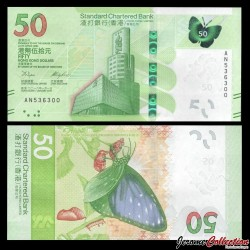 HONG KONG - Standard Chartered Bank - Billet de 50 DOLLARS - Papillon - 2018