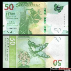 HONG KONG - Bank Of China (Hong Kong) Ltd - Billet de 50 DOLLARS - Papillon - 2018