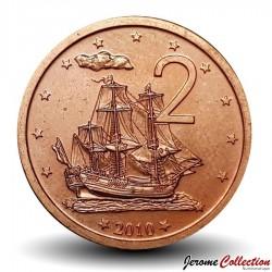 """ILES COOK - PIECE de 2 CENTS - Le """"Endeavour"""", voilier de James Cook - 2010"""