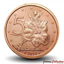ILES COOK - PIECE de 5 CENTS - Fleur de tiaré - 2010 Km#758