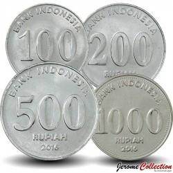 INDONESIE - SET / LOT de 4 PIECES de 100 200 500 1000 Rupiah - 2016