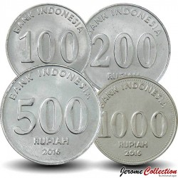 INDONESIE - SET / LOT de 4 PIECES de 100 200 500 1000 Rupiah - 2016