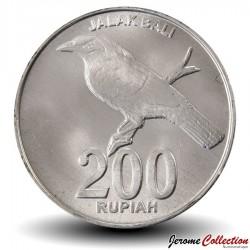 INDONESIE - PIECE de 200 Rupiah - Un étourneau de Bali - 2003 Km#66