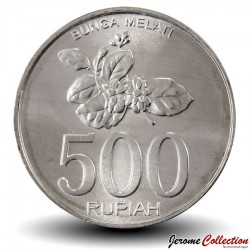 INDONESIE - PIECE de 500 Rupiah - Branche de jasmin en fleur - 2003 Km#67