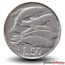 SAINT-MARIN - PIECE de 50 Lires - Saumons- 1975