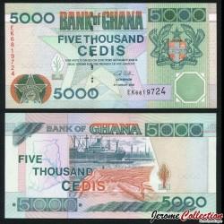 GHANA - Billet de 5000 Cedis - Cargo de chargement de bois - 2006 P34j