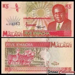 MALAWI - Billet de 5 Kwacha - Président Bakili Muluzi / Zèbres - 1.6.1995 P30a
