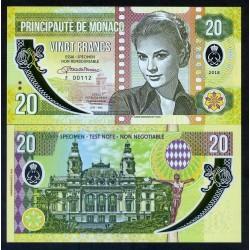 MONACO - Billet de 20 Francs - Princesse Grace Kelly - POLYMER - 2018 0020 - Gabris - Série B