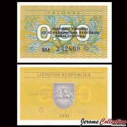 LITUANIE - Billet de 0.50 Talonas - 1991 P31b