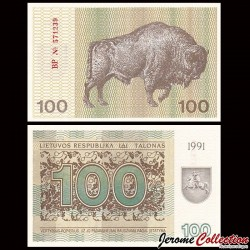 LITUANIE - Billet de 100 Talonas - Bison - 1991 P38b