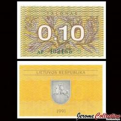 LITUANIE - Billet de 0.10 Talonas - 1991 P29a