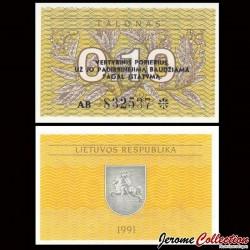 LITUANIE - Billet de 0.10 Talonas - 1991 P29b