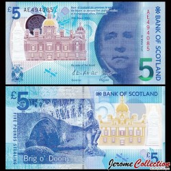 ECOSSE - Billet de 5 Pounds - Sir Walter Scott - Polymer - 2016