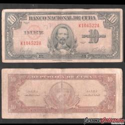CUBA - Billet de 10 Pesos - Carlos Manuel de Céspedes - 1949 P79a