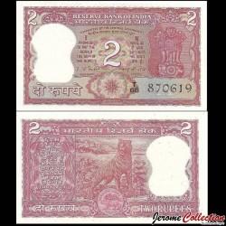 INDE - Billet de 2 Roupies - Tigre du Bengale - 1981 P53d