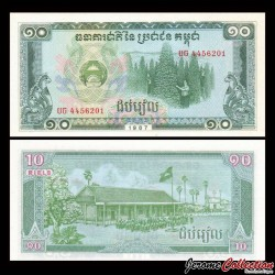 CAMBODGE - Billet de 10 Riels - 1987