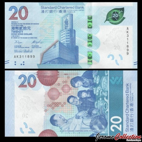 HONG KONG - Standard Chartered Bank - Billet de 20 DOLLARS - 2018