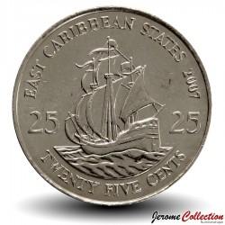 """CARAIBES ORIENTALES - PIECE de 25 Cents - Bateau """"Golden Hind"""" - 2007"""