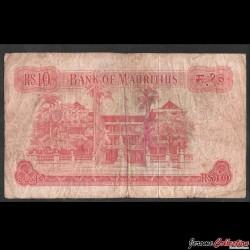 MAURICE - Billet de 10 Roupies - Elizabeth II - 1967