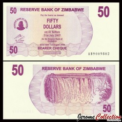 ZIMBABWE - Billet de 50 Dollars - Bearer cheque - 01.08.2006