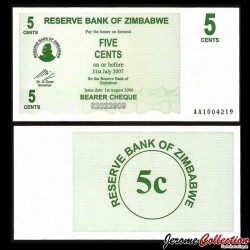 ZIMBABWE - Billet de 5 Cents - Bearer cheque - 01.08.2006