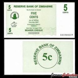 ZIMBABWE - Billet de 5 Cents - Bearer cheque - 01.08.2006 P34a