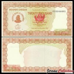 ZIMBABWE - Billet de 20000 DOLLARS - 2003