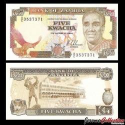 ZAMBIE - Billet de 5 Kwacha - Président Kenneth Kaunda - 1989 P30a