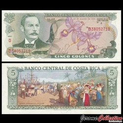 COSTA RICA - Billet de 5 Colones - Orchidée - 12.03.1981