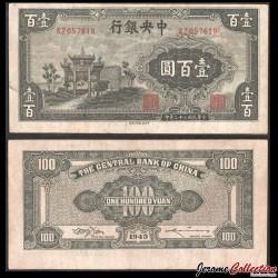 CHINE - Central Bank of China - BILLET de 100 Yuan - 1943 P254a