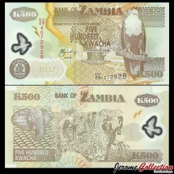 ZAMBIE - Billet de 500 Kwacha - Polymer - 2009 P43g