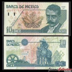 MEXIQUE - BILLET de 10 Pesos - Emiliano Zapata - 1996 P105b - Série AE