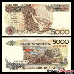 INDONESIE - Billet de 5000 Rupiah - Volcan Kelimutu - 1992 / 2001