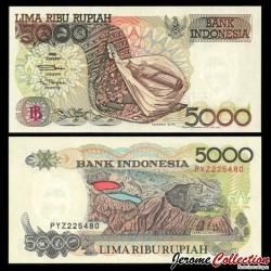 INDONESIE - Billet de 5000 Rupiah - Volcan Kelimutu - 1992 / 2000