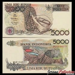 INDONESIE - Billet de 5000 Rupiah - Volcan Kelimutu - 1992 / 1997 P130f