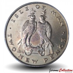 ILE DE MAN - PIECE de 2 Pence - Fauconnerie - 1971 Km#21