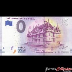 BILLET TOURISTIQUE - ZERO 0 EURO - FRANCE - Château d'Azay-le-Rideau - 2019 UEGJ - 2019-1