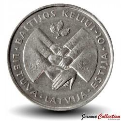 LITUANIE - PIECE de 1 Litas - 10 Ans de la voie balte - 1999 Km#117